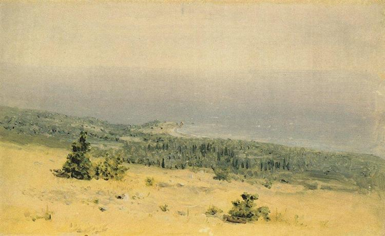 View of the beach and sea from the mountains. Crimea, c.1880 - Arkhip Kuindzhi