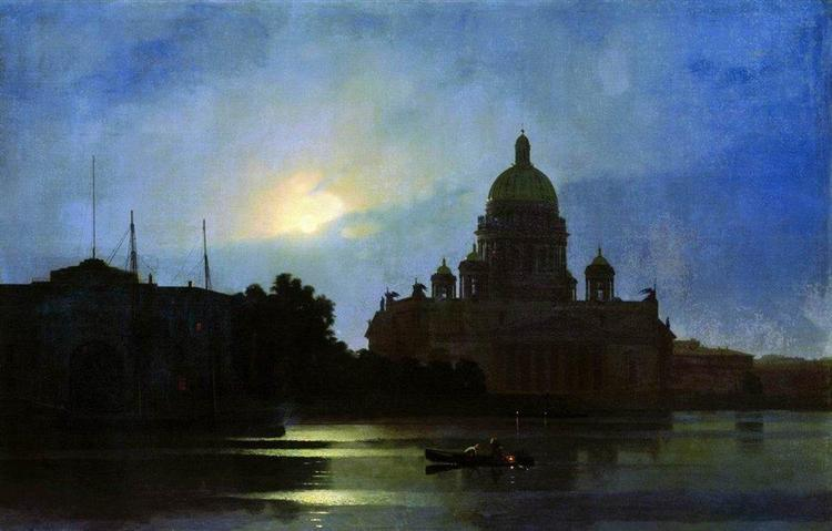 View of the Isaac Cathedral at Moonlight Night, 1869 - Archip Iwanowitsch Kuindschi