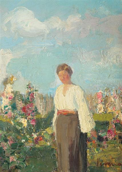 In the Garden with Flowers - Arthur Verona