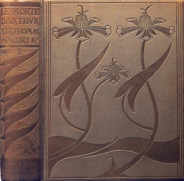 Front Cover and spine of Le Morte Darthur, 1893 - Aubrey Beardsley