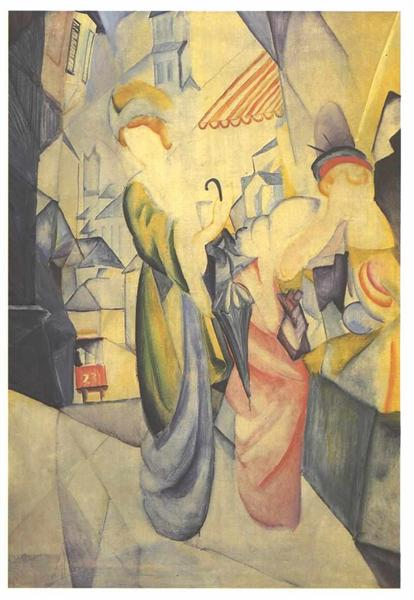 Bright woman in front of a hat store, 1913 - August Macke
