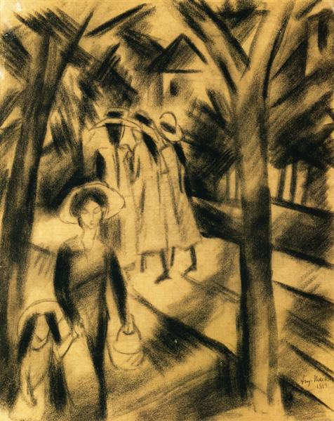 Woman with Child and Girls on a Road, 1913 - August Macke