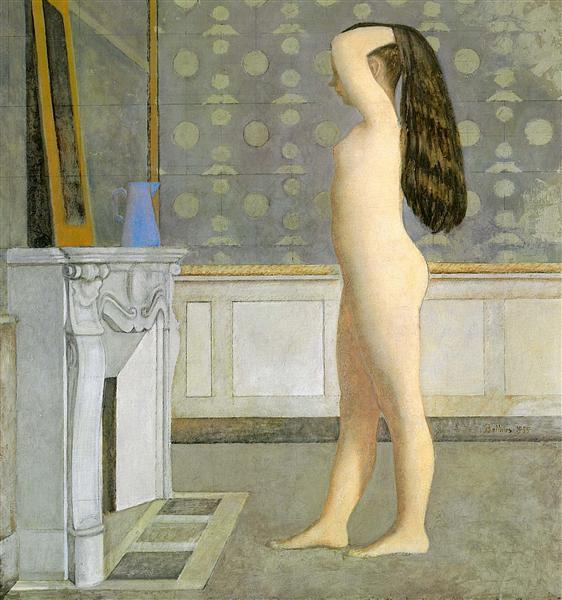 Figure in Front of a Mantel, 1955 - Balthus