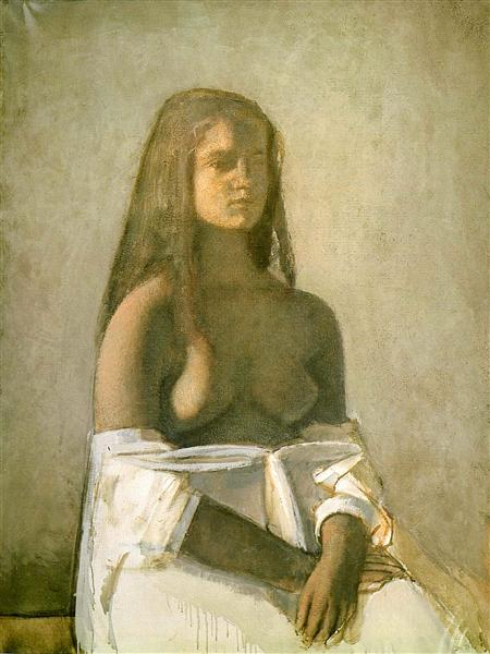 Young girl with white skirt, 1955 - Balthus