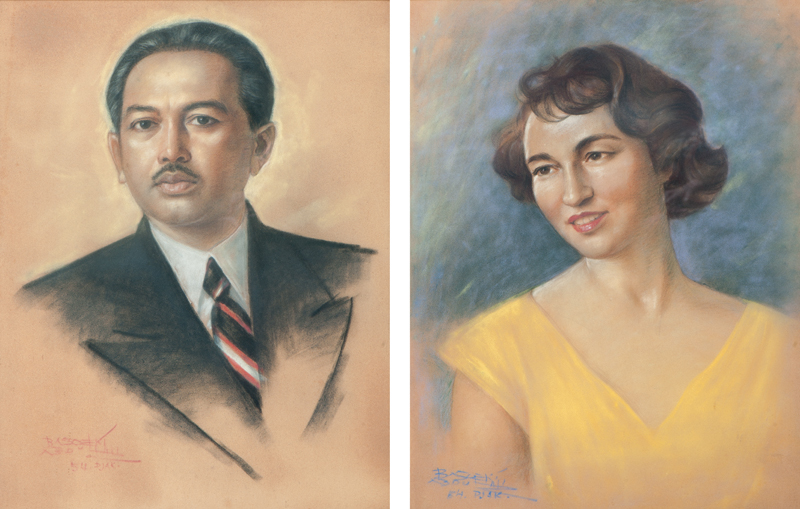 Portrait of Raden Mas Soedibio and his wife