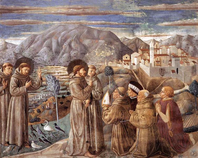 Predica a los pájaros y Bendición Montefalco - Benozzo Gozzoli