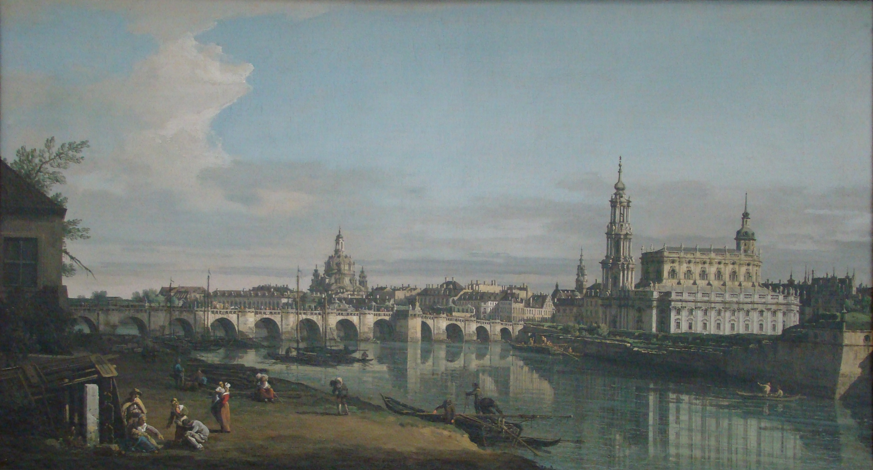 view of dresden from the right bank of the elbe with augustus bridge bernardo bellotto. Black Bedroom Furniture Sets. Home Design Ideas