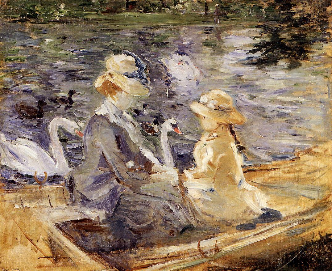 On the Lake in the Bois de Boulogne - Berthe Morisot ...