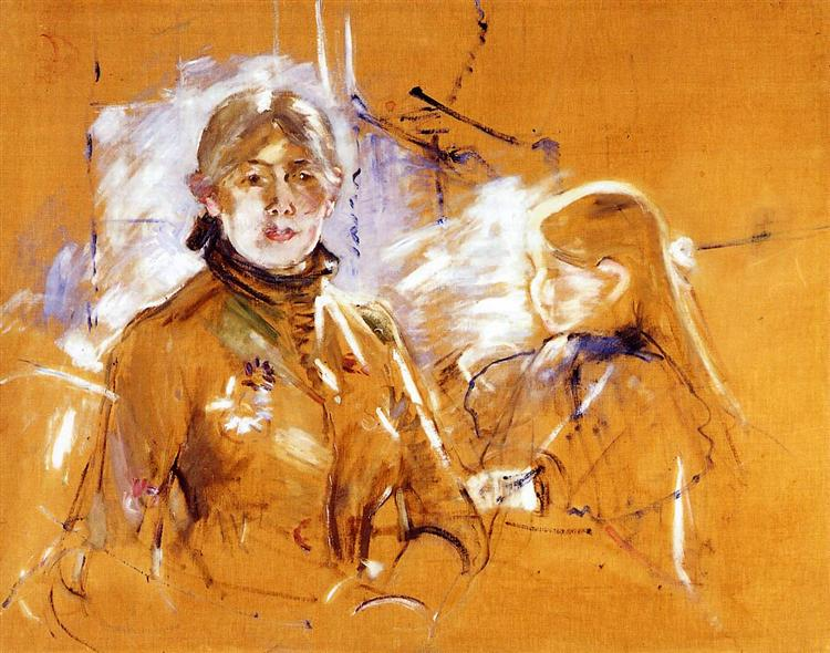 Portrait of Berthe Morisot and Her Daughter, 1885 - Berthe Morisot
