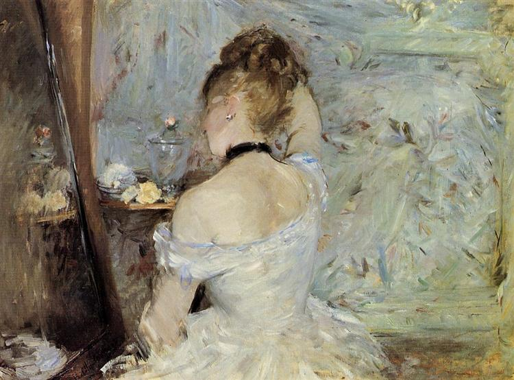 Young Woman at the Mirror, 1880 - Berthe Morisot