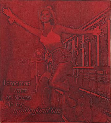 I dreamed I went to blazes in my Maidenform Bra (red), 1965 - Billy Apple