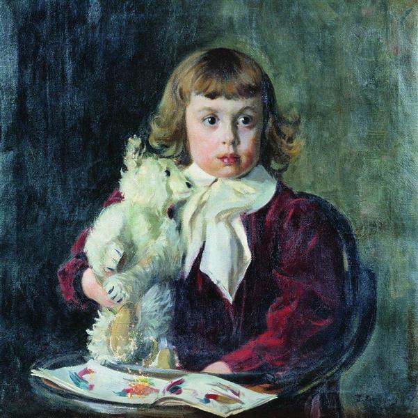 Boy with teddy bear, 1907 - Boris Kustodiev