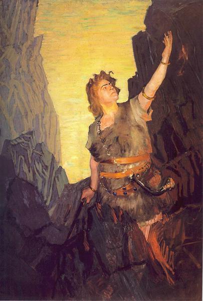 Portrait of Ivan Yershov, the role of Siegfried, 1908 - Boris Kustodiev
