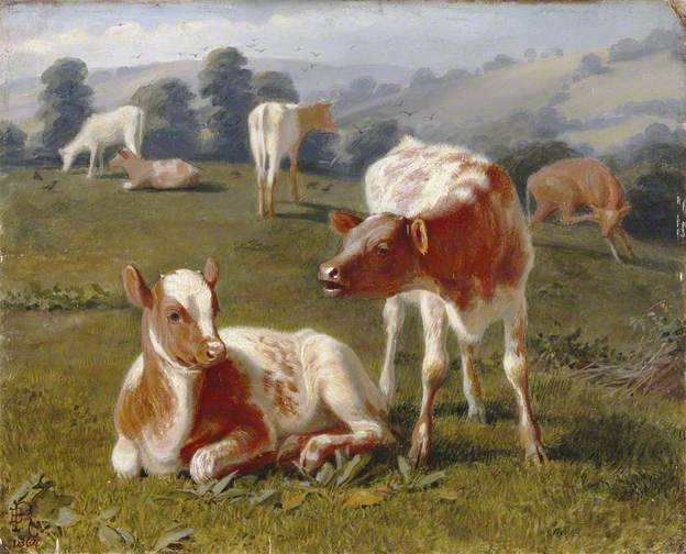 Calves in a Meadow, 1864