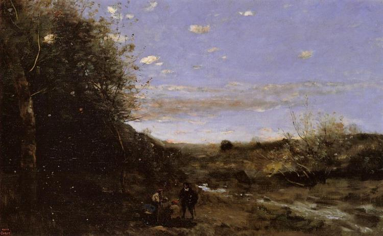 Hamlet and the Gravedigger, c.1873 - c.1874 - Camille Corot