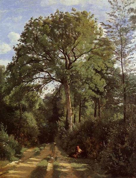 Ville d'Avray Edge of the Woods with a Female Cowherd - Camille Corot