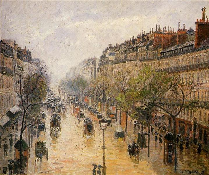 Boulevard Montmartre Spring Rain - Camille Pissarro