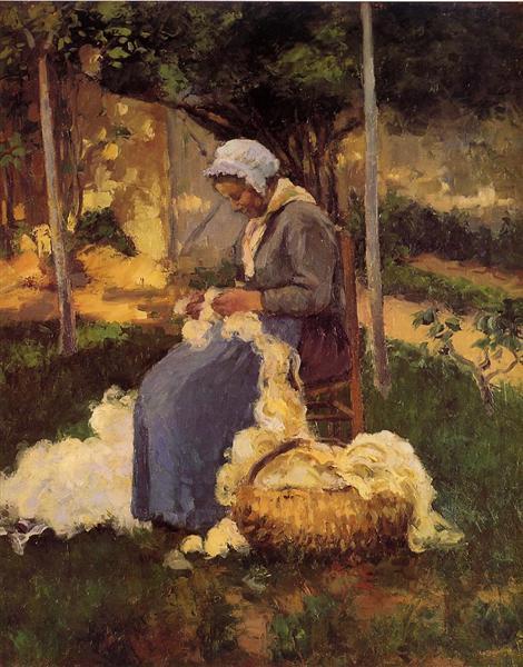 Female Peasant Carding Wool, 1875 - Camille Pissarro