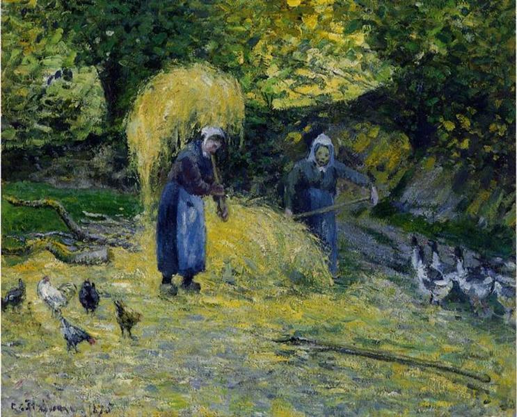 Peasants Carrying Straw, Montfoucault, 1875 - Камиль Писсарро