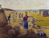 The Harvest of Hay in Eragny - Camille Pissarro