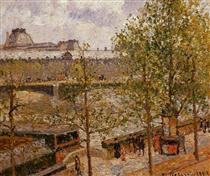 The Louvre, Morning, Sun, Quai Malaquais - Camille Pissarro