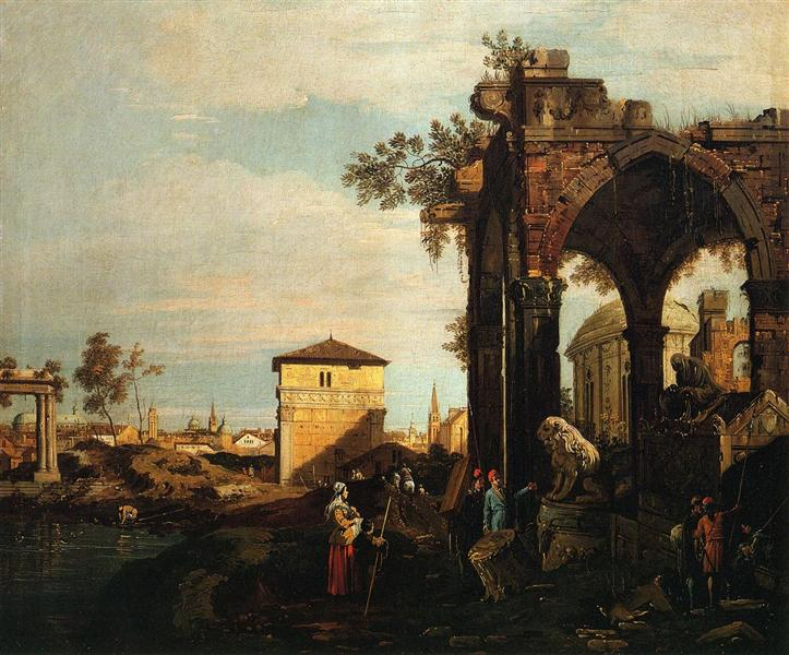 Capriccio with Ruins and Porta Portello in Padua - Giovanni Antonio Canal