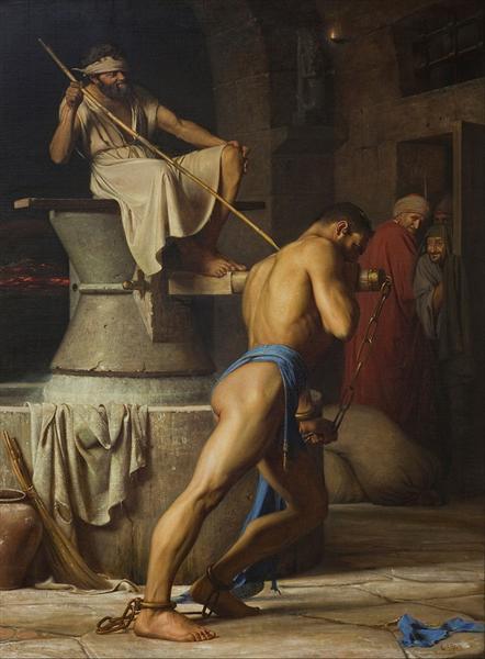 Samson and the Philistines (Samson in the Threadmill), 1863 - Карл Блох