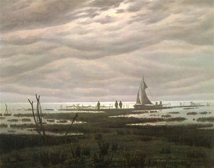 Flat country shank at Bay of Greifswald, 1834 - Caspar David Friedrich