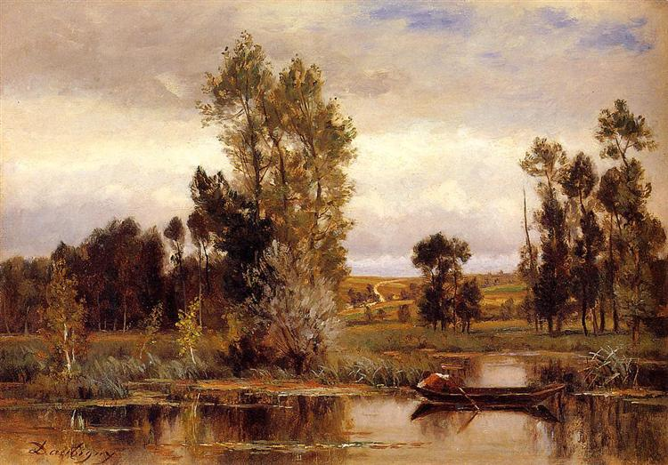 Boat on a Pond - Charles-Francois Daubigny