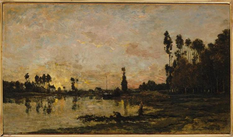 Sunset on the Oise, 1865 - Charles-Francois Daubigny
