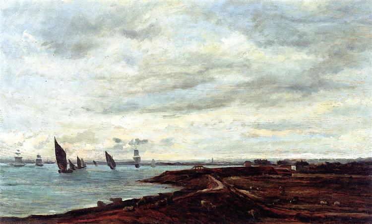 The Banks of the Thames at Eames - Charles-François Daubigny