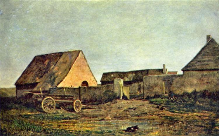 The peasant yard, 1855 - Charles-Francois Daubigny