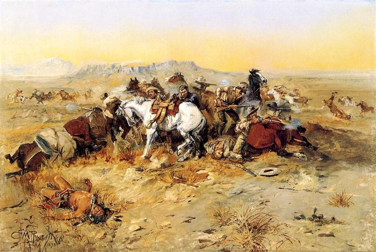 A Desperate Stand, 1898 - Charles M. Russell