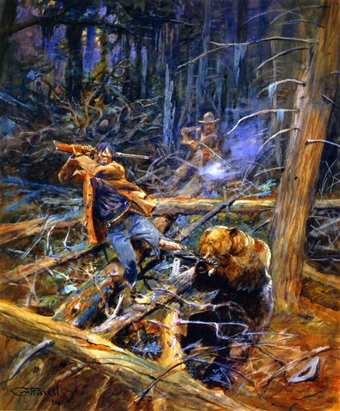 A Wounded Grizzly, 1906 - Charles Marion Russell