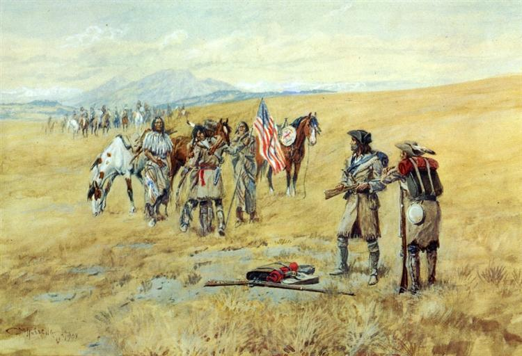 Captain Lewis Meeting the Shoshones, 1903 - Charles Marion Russell