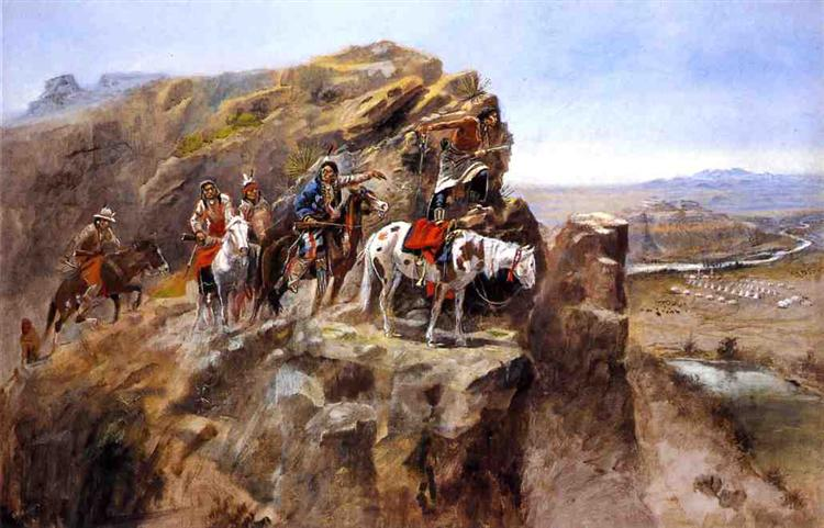 Indians on a Bluff Surveying General Miles' Troops - Charles M. Russell