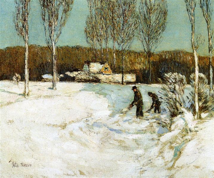 Shoveling Snow, New England, 1905 - Childe Hassam