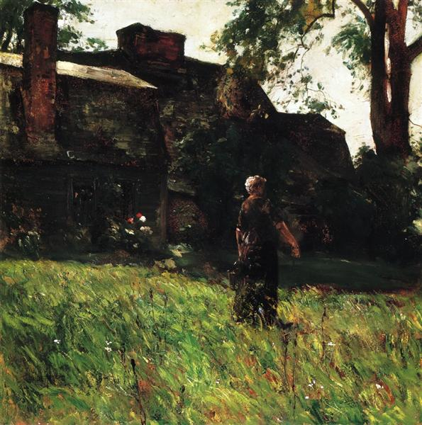 The Old Fairbanks House, Dedham, Massachusetts, 1884 - Childe Hassam