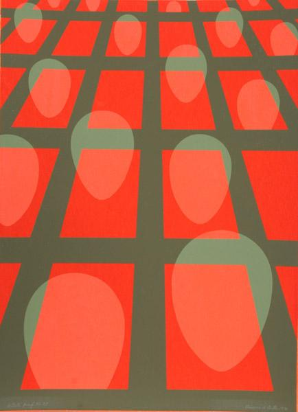 Untitled - Faces in a Grid (Red), 1971 - Clarence Holbrook Carter