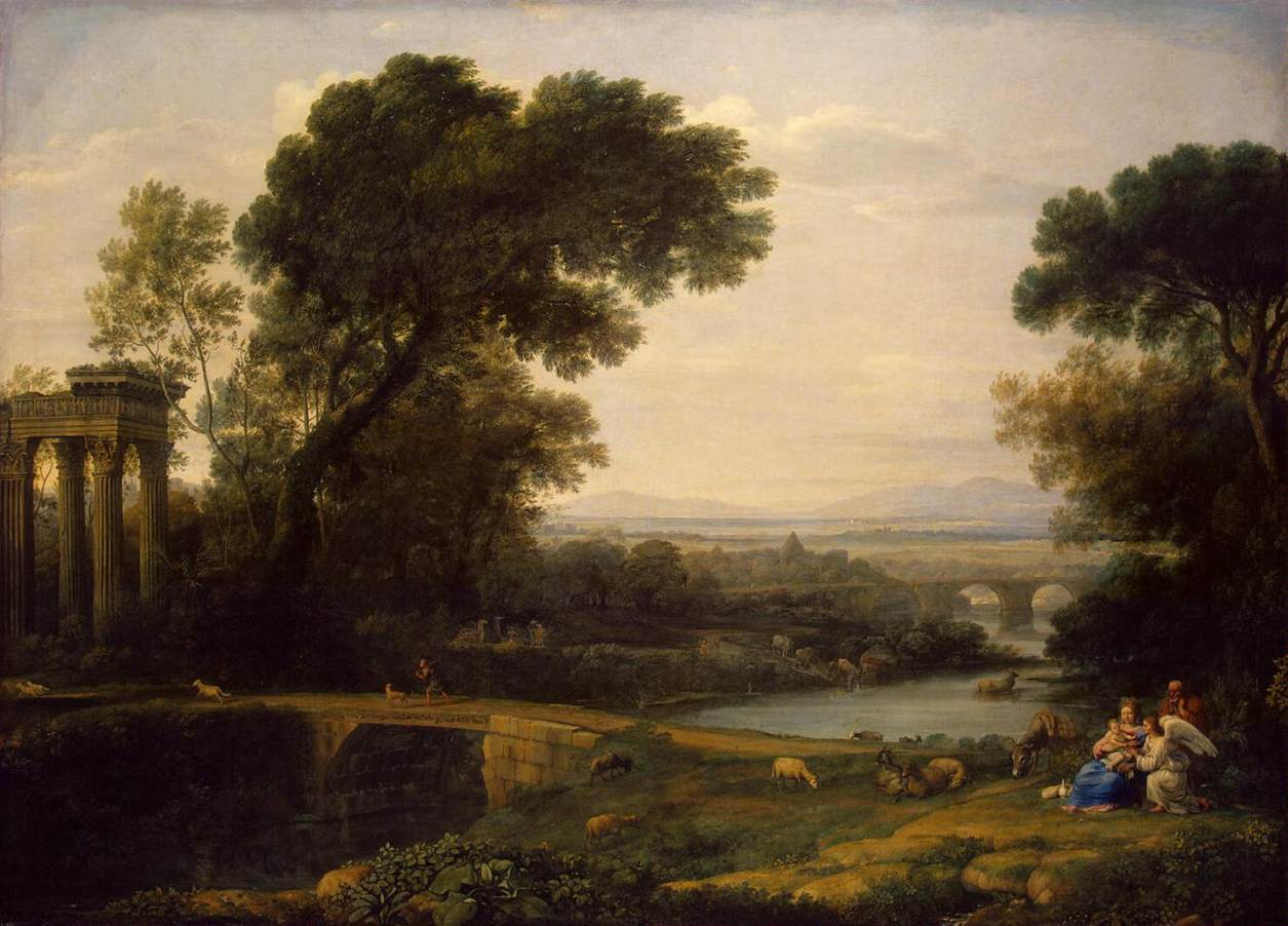 Landscape With The Rest On The Flight Into Egypt 1666 on Italian Rococo Style Painting