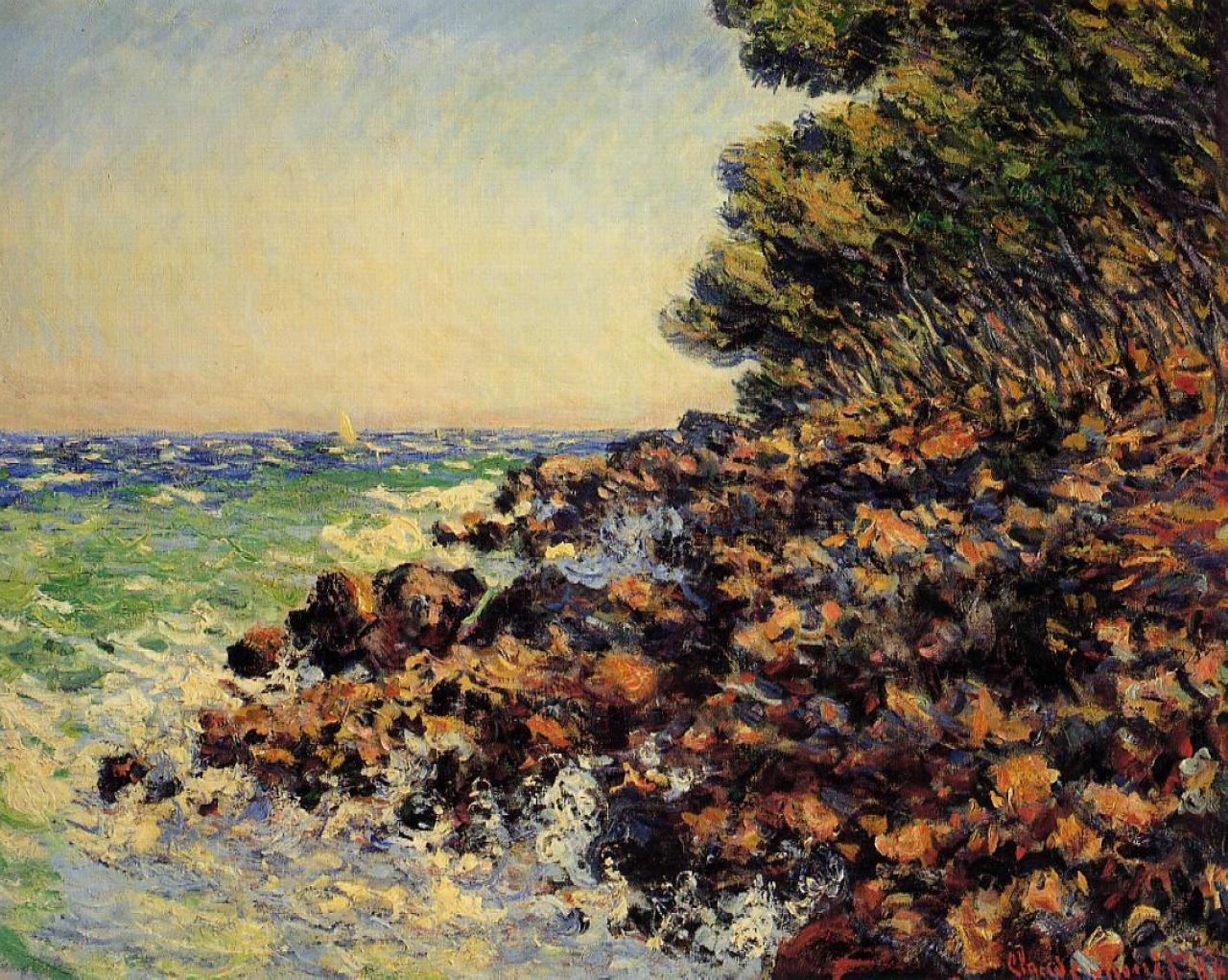 Обои Клод Моне, Два Рыбака, картина, лодка, Пейзаж. Разное foto 15