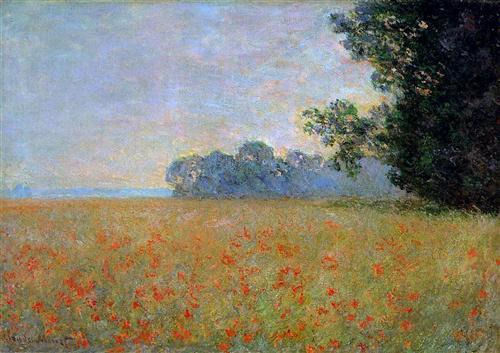 Oat and Poppy Field - Claude Monet