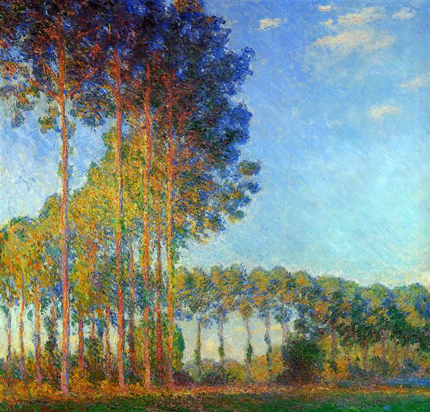 Poplars on the Banks of the River Epte, Seen from the Marsh, 1891 - 1892 - Claude Monet
