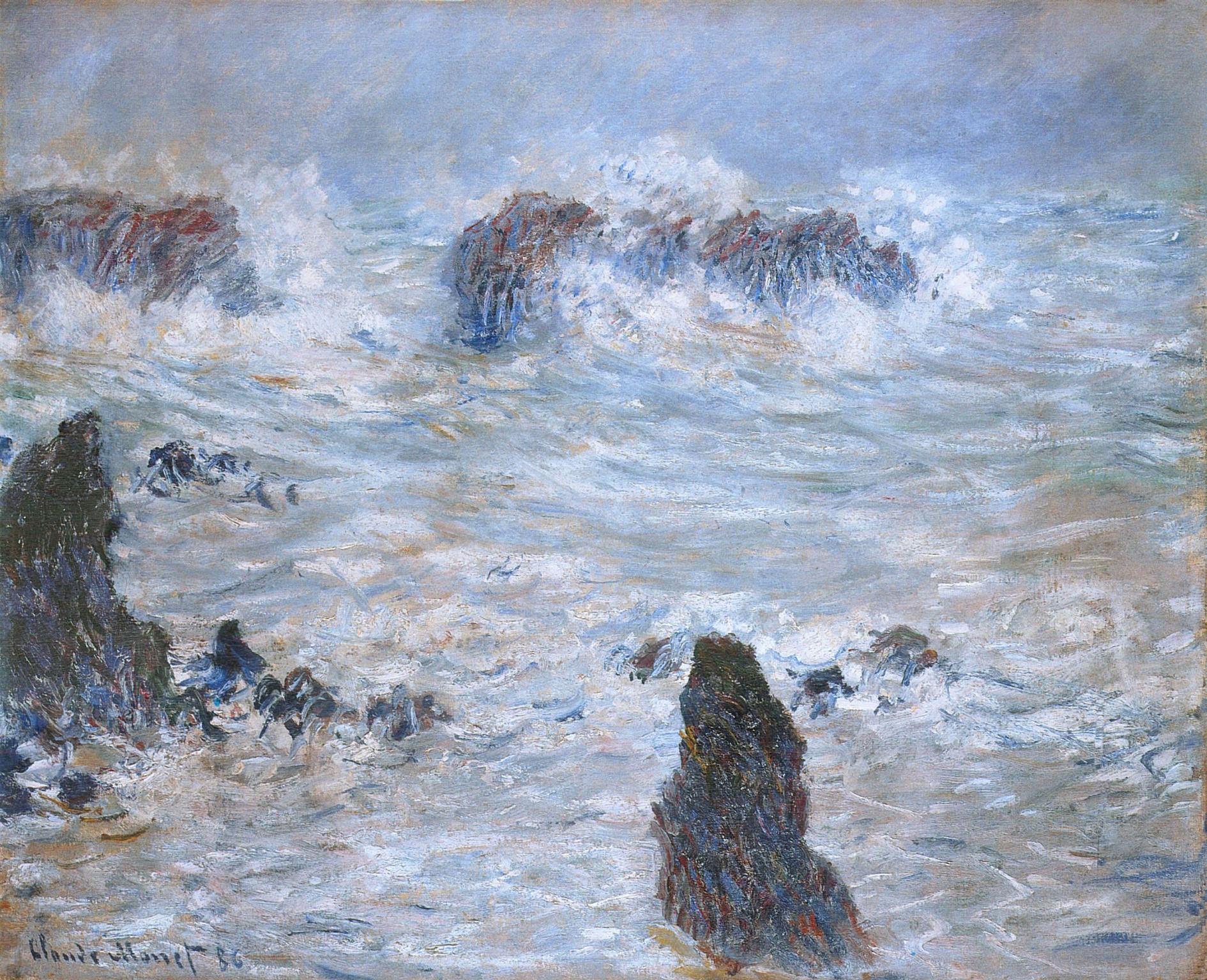 Storm off the coast of belle ile 1886 claude monet for Port donnant belle ile