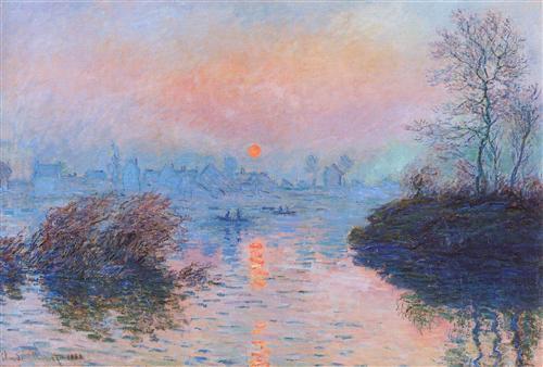 Sunset on the Seine at Lavacourt, Winter Effect - Claude Monet