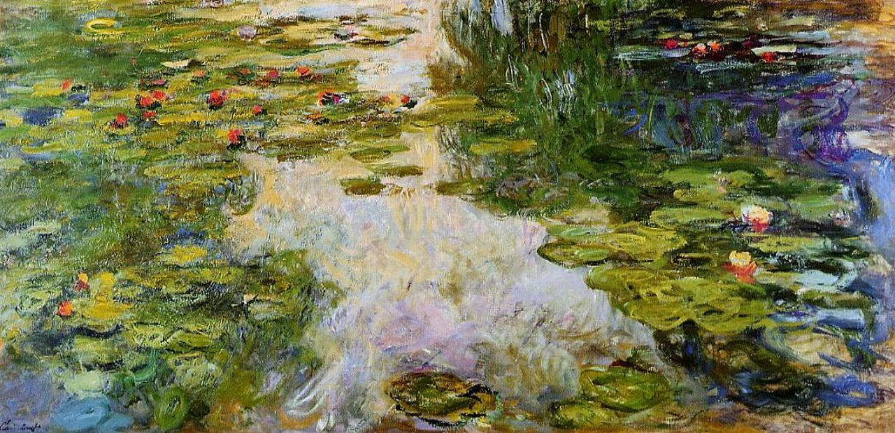 Water Flowers Paintings Impressionism
