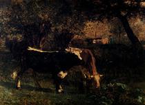 Cows at the Watering - Констан Труайон