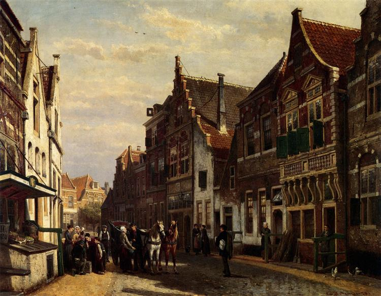 Oudewater Street At Summer, 1878 - Cornelis Springer