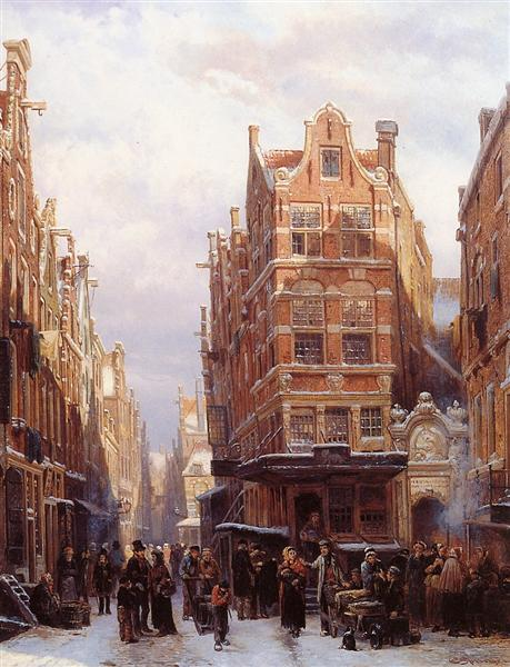 The Jewish quarter in Amsterdam - Cornelis Springer