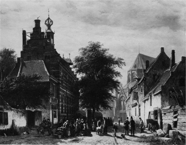 The Town Hall and Market at Naarden, 1864 - Cornelis Springer